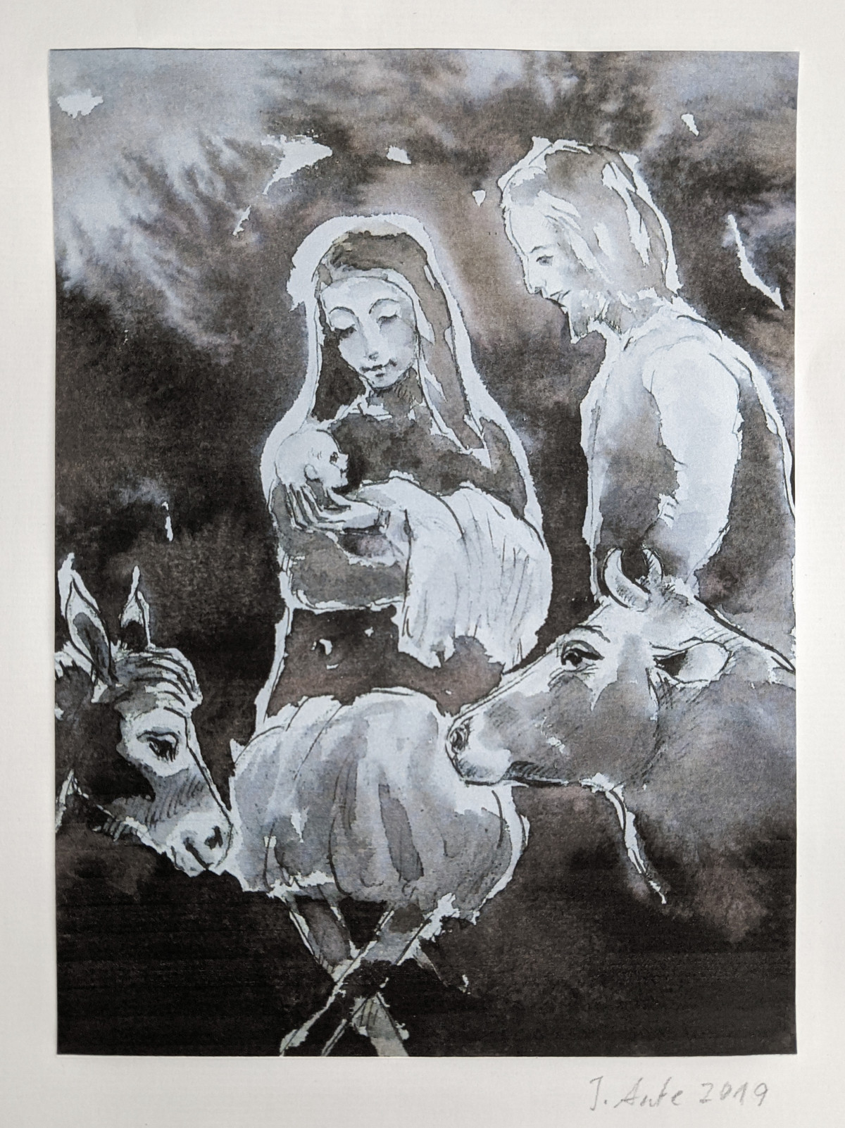 Jesu Geburt, Aquarell, 2019