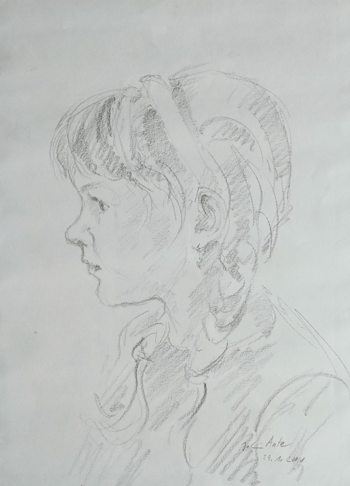 Gesina im Profil, Bleistiftzeichnung, 29.01.2001
