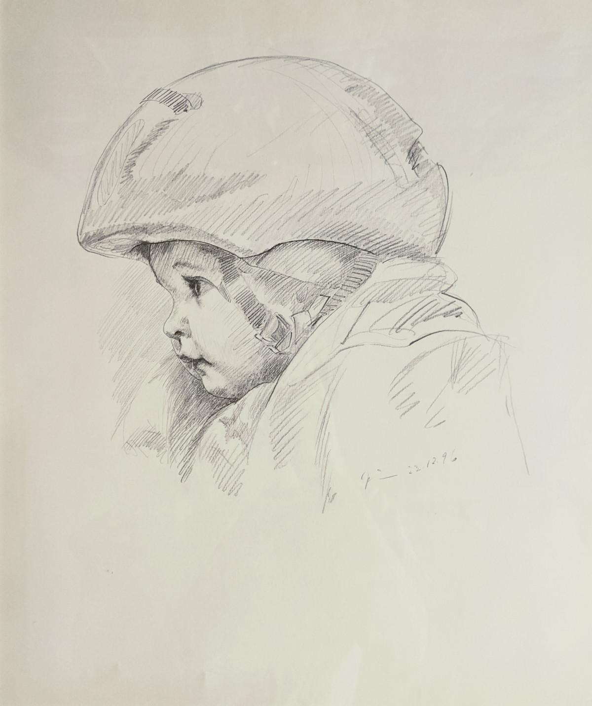 Enkelin im Fahrradsitz, Bleistiftzeichnung, 23.12.1996
