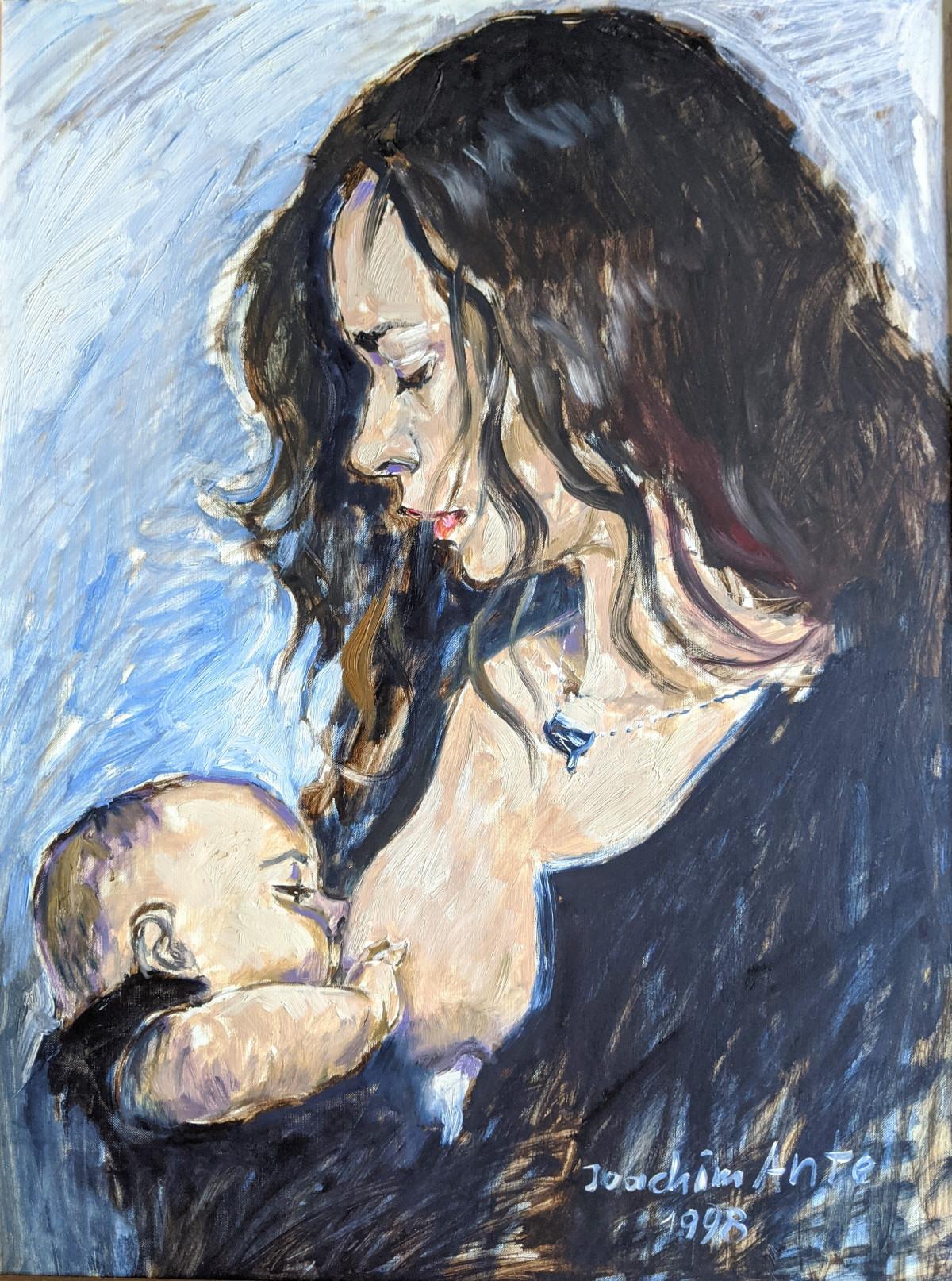 Stillende Mutter, Öl, 1998
