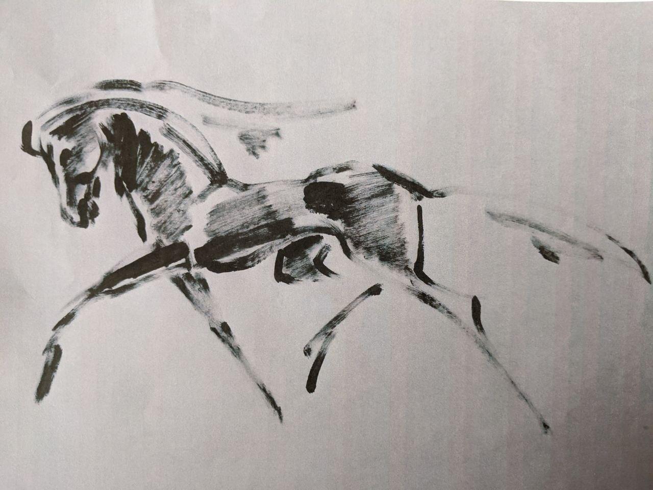 Pferd im Lauf, Pinselzeichnung, 1985