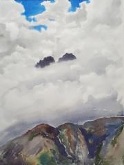 Gipfel des Hirzer Berg, Aquarell, 24.09.2005